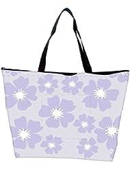 Snoogg Light Purple Flower Designer Waterproof Bag Made Of High Strength Nylon