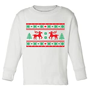 Festive Threads Christmas Sweater (Moose Design) Long Sleeve Toddler T-Shirt