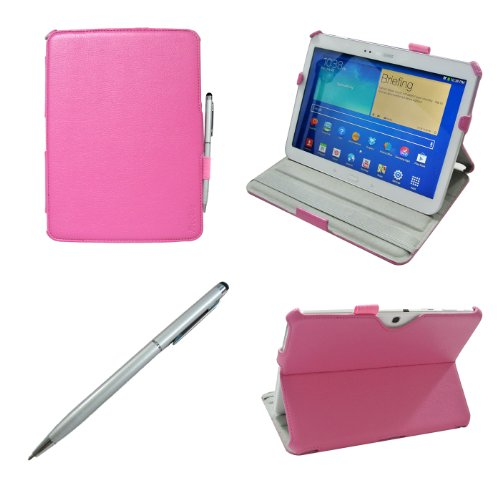 ProCase Samsung Galaxy Tab 3 10.1 Case bonus stylus pen included - Slim Fit Hard Folio Cover Case for Samsung Galaxy Tab 3 10.1 Inch Android Tablet, Built-in Stand, with Auto Sleep / Wake Feature GT-P5210 /GT-P5200 (Pink)