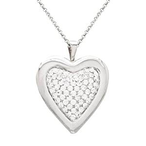 Sterling Silver White Crystal Heart Locket Pendant Necklace, 18