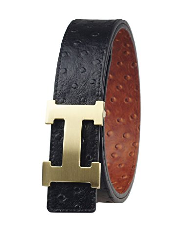 "Fengwen Men Reversible Genuine Leather Belt 1.5"" Width Alloy Buckle HZ12001 Ostrich/gold L(36""-38"")"