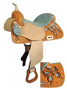 Saddle King USA Made Butterly Barrel Racing Saddle w/ Ostrich Seat, 1225-Pink, 13""
