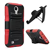 i-Blason Prime Series Dual Layer Holster Case Kick Stand Compatible with Samsung Galaxy S4 SIV S IV i9500 with Locking Belt Swivel Clip Manufactured by i-Blason (Red)