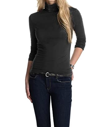 ESPRIT Collection Women's Long - regular Turtleneck  - Black - Schwarz (001 BLACK) - 8