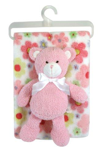 Stephan Baby Super Soft Flannel-Soft Fleece Crib Blanket and Plush Bear Gift Set, Swirly Flower