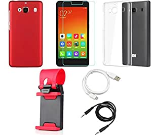 NIROSHA Tempered Glass Screen Guard Cover Case USB Cable Mobile Holder for Xiaomi Redmi 2s - Combo