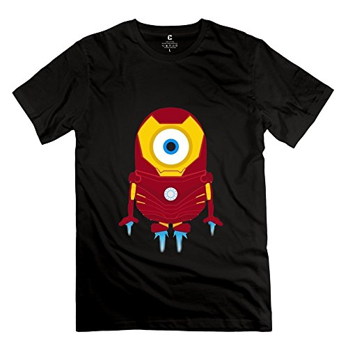 Mens Funny Funny Minions Iron Man Cotton Tee Shirt