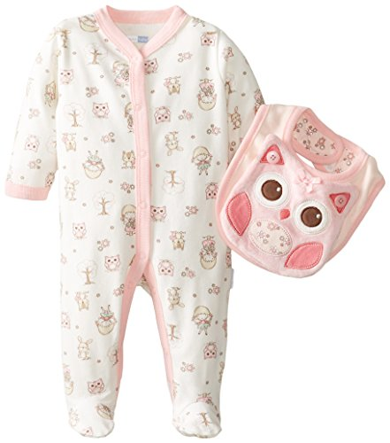Vitamins Baby Baby-Girls Newborn Lil Owl 2 Piece Footed Coverall Set With Bib, Ivory, New Born back-976489