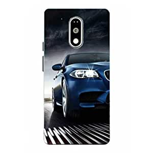 Snazzy Car Printed Blue Hard Back Cover For Motorola Moto G4 Plus