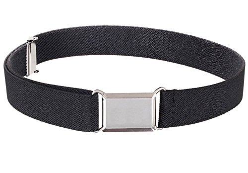 Kids Elastic Adjustable Strech Belt With Silver Square Buckle - Black