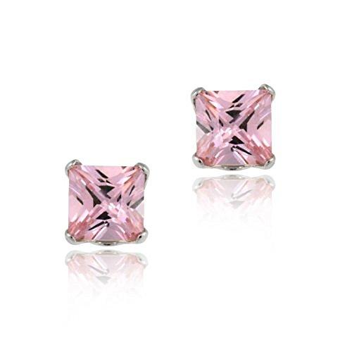14k-white-gold-4mm-princess-pink-cz-stud-earrings