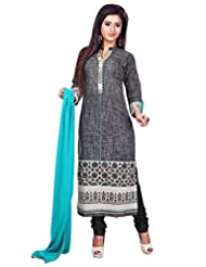 Dark Grey Handloom Cotton Readymade Salwar Kameez Dress - Machine Patch Work In Top