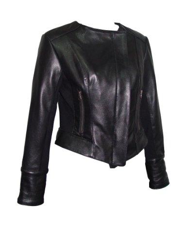 Nettailor FREE tailoring Women PLUS SZ 4070 Leather Moto Jacket Collarless