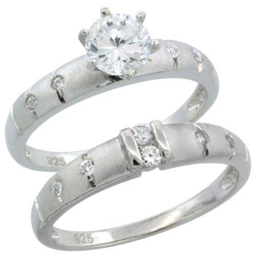Sterling Silver Diamond Simulant 3.5mm Ladies Bridal Set
