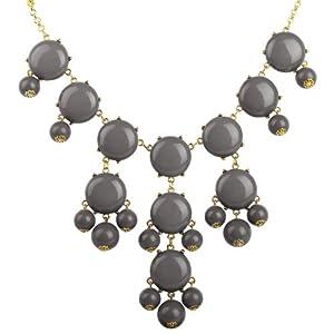 Gray Bubble Necklace, Dark Gray Statement Necklace(Fn0508-Dark Gray)