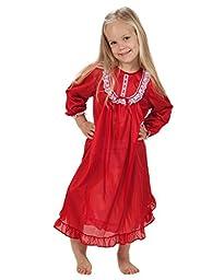 Laura Dare Big Girls Red Long Sleeve PJ Nightgown, 8