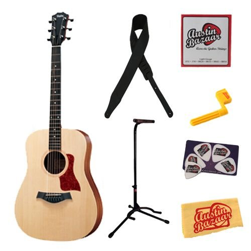 Taylor BBT Big Baby Taylor Dreadnought Acoustic Guitar Bundle with Stand, Leather Strap, Strings, String Winder, Pick Card, and Polishing Cloth