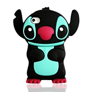 Disney 3D Stitch Movable Ear Silicone Soft Case Cover for Iphone 4g/4gs- Black/Red