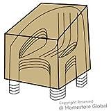 HomeStore Global, Housse de protection pour 4 chaises de jardin empilables - Matière Premium 600D polyester, très résistante et anti-humidité, Dimensions: (l) 61 x (p) 68 x (h) 140/106cm - Marron
