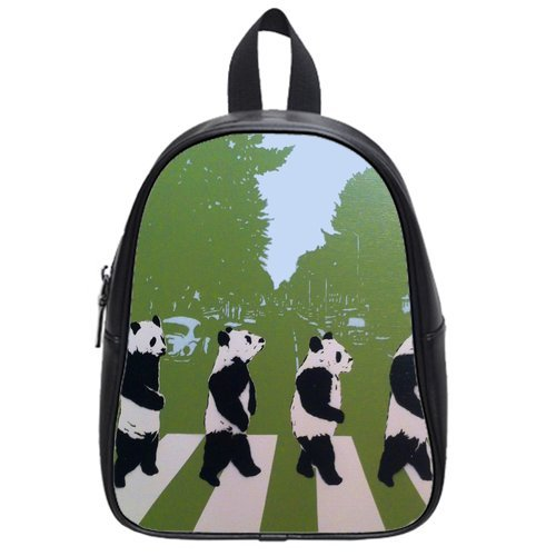 Generic Custom Pandas Walking In Line Printed School Bag Backpack Fit Short Trip Pu Leather Large front-959995
