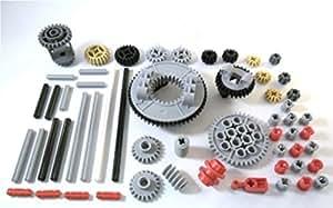 LEGO TECHNIC 57-teiliges Zahnrad, Achs- und Stopper-Set. Lieferung erfolgt wie abgebildet (siehe Beschreibung).