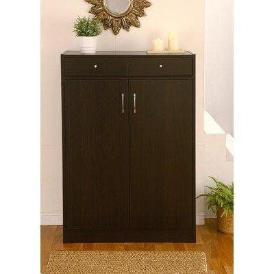 Brick Modern 5 Shelf Shoe Cabinet With 2 Drawers Finish: Coffee Bean front-418456