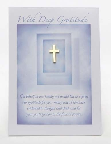 Club Pack of 24 Carded Bereavement Gratitude Gold Cross Pins 0.75