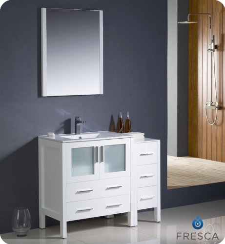 "Fresca Torino 42"" Modern Bathroom Vanity W/ One Side Cabinet & Integrated Sink - White front-771140"