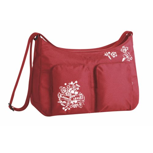 Lassig Marv Shoulder Bag Blossoms and Leaves, Red