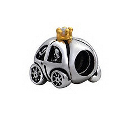 Beads Hut - Tribe Gold Crown Running Taxi Car European Bead Fit Charm Bracelet 925 Sterling Silver