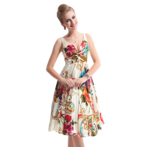 Ever Pretty Double V-neck Floral Printed Satin Short NWT Party Dress 03381, HE03381ZS16, Multi-color, 14US