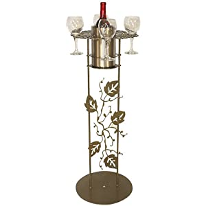"""Decorative Metal Wine Bottle & Glassware Stand - Gold Finish: 24"""" Tall"""