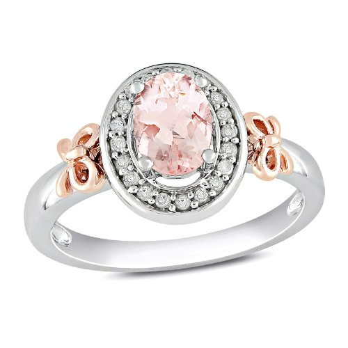 10k Rose Gold and Sterling Silver, Diamond and Morganite Bow Ring, (.1 cttw, GH Color, I2 Clarity), Size 7