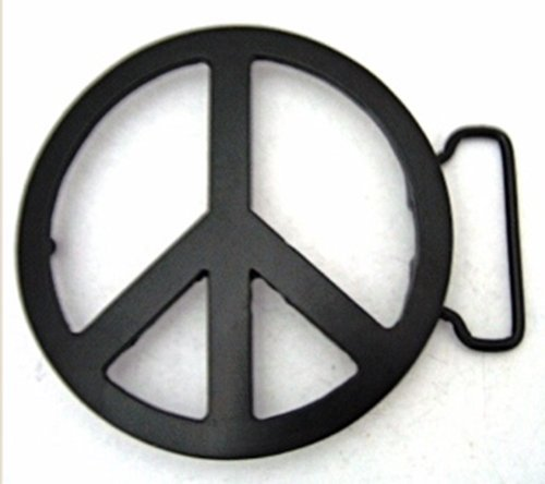 Peace Sign Die Cut Black Finishing Belt Buckle.