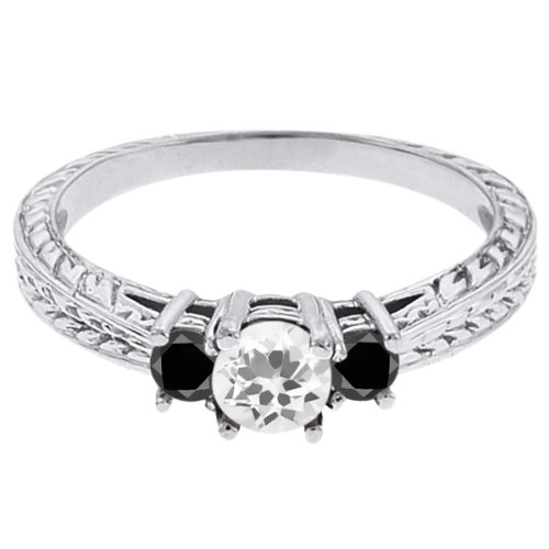 0.57 Ct Round White Topaz Black Diamond 18K White Gold 3-Stone Ring