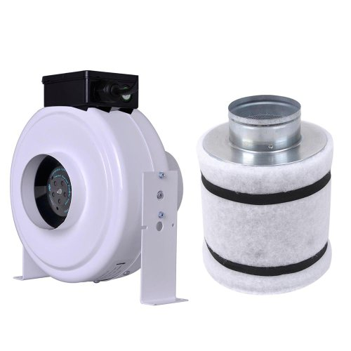 Inline Duct Exhaust Booster Vent Fan Blower with Coconut Shell Carbon Filter for Room Venilation: 4 Inch 160 CFM