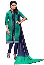 Justkartit Women's Green & Blue Colour Simple & Sober Daily Wear Salwar Kameez / Office wear traditional Clothing For Women / Formal Indian Ethnic Wear ( July 2016 Launch)