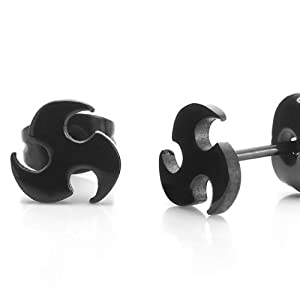 Men's Stainless Steel Black Stud Earrings Blade Style
