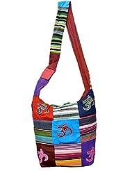 Cotton Canvas Tote Boho Om Design Hippie Indian Sling Cross Body Bag
