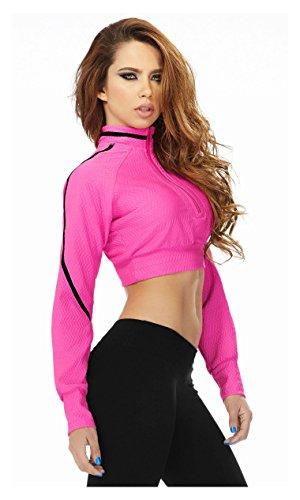 Babalu Fashion Women Long Sleeve Turtleneck Crop Top Jacket Pullover Ladies Activewear Chaquetas Deportivas de Mujer Ropa para Dama 35153 Pink