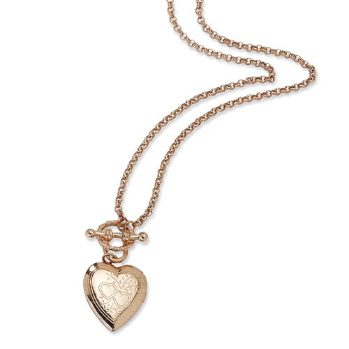 Rose-tone Heart Locket Decorative Toggle 18