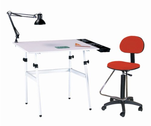 """Berkeley 4 Pieces Combo 30' x 42"""" Set with Drafting Chair Color: White with White Top and Red Drafting Chair"""