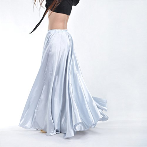 Skirts Belly Dance Dreamspell® White Belly Dance Satin Long Skirt Party Costumes Cospaly