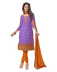 Ala4u Light Violet Leaf printed Unstiched Cotton Dress Material
