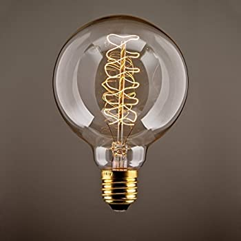 KINGSO Vintage Edison Bulb 60W Incandescent Antique Dimmable Light Bulb Dimmable for Home Light Fixtures Squirrel Cage Filament E27 Base G80 110V (4 Pack)