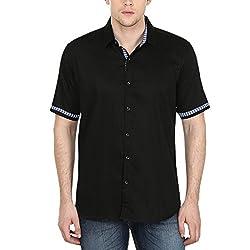 Stylox Men's Black Half Sleeves Cotton Shirt Black