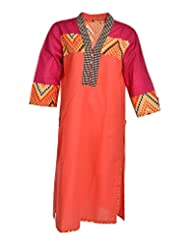 Global Women's Cotton Straight Kurta (GW33PeachXL015, Peach, XL)