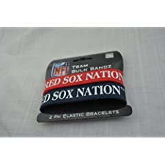 Boston Red Sox *Red Sox NationBig Logo MLB extra wide Bulky Bandz Bracelet 2 pack...