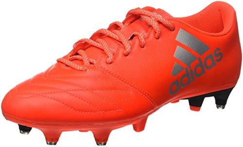 Adidas X 16.3 Sg Leather, Scarpe da Calcio Uomo, Arancione (Solar Red/Silver Metallic/hi-Res Red), 45 1/3 EU