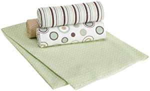 Carters Wrap Me Up Receiving Blanket, Brown/Sage Circles, 4 Pack